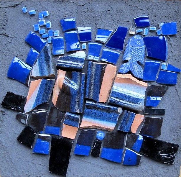 N°5/6 Série de tableaux composée de céramique, de faïence et de verre