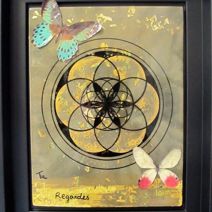Géométrie sacrée et papillons laqués